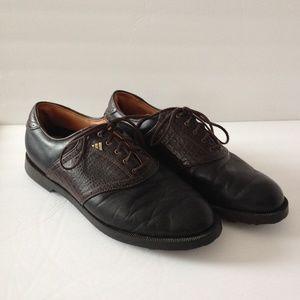 Adidas Mens Golf Shoe Size 9.5 Black & Brown Croc